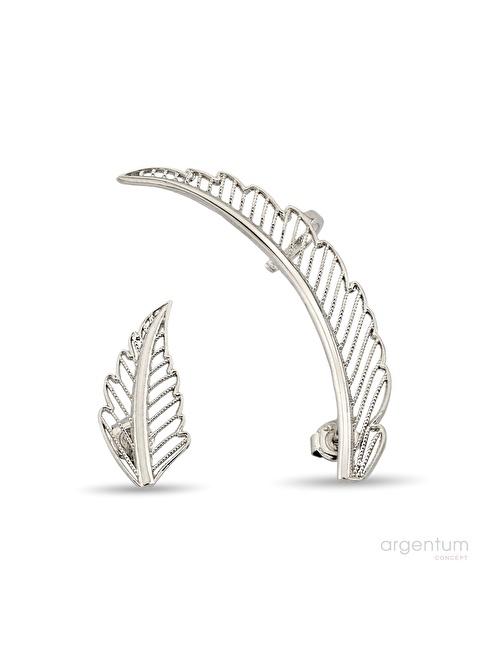 Argentum Concept Melek Kanadı Motifli Gümüş Küpe Renkli